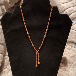 Orange bead station necklace with 1.5 inch drop